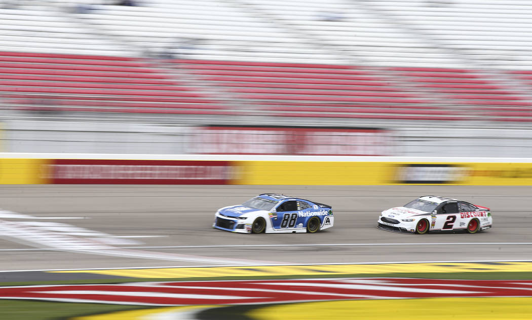 Monster Energy NASCAR Cup Series drivers Alex Bowman (88) and Brad Keselowski (2) during practice at the Las Vegas Motor Speedway in Las Vegas on Saturday, March 3, 2018. Chase Stevens Las Vegas R ...