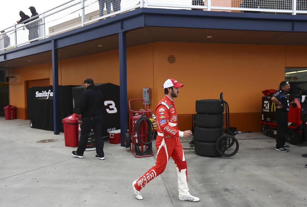 Monster Energy NASCAR Cup Series driver Daniel Suarez (19) after practice at the Las Vegas Motor Speedway in Las Vegas on Saturday, March 3, 2018. Chase Stevens Las Vegas Review-Journal @csstevens ...