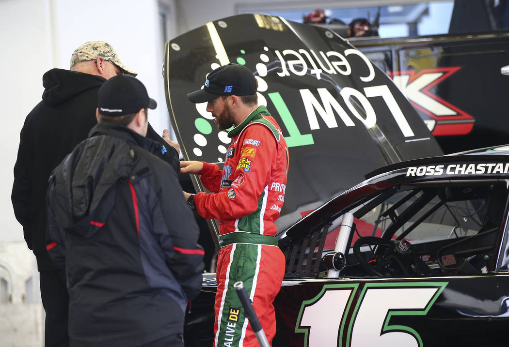 Monster Energy NASCAR Cup Series driver Ross Chastain (15) after practice at the Las Vegas Motor Speedway in Las Vegas on Saturday, March 3, 2018. Chase Stevens Las Vegas Review-Journal @csstevens ...