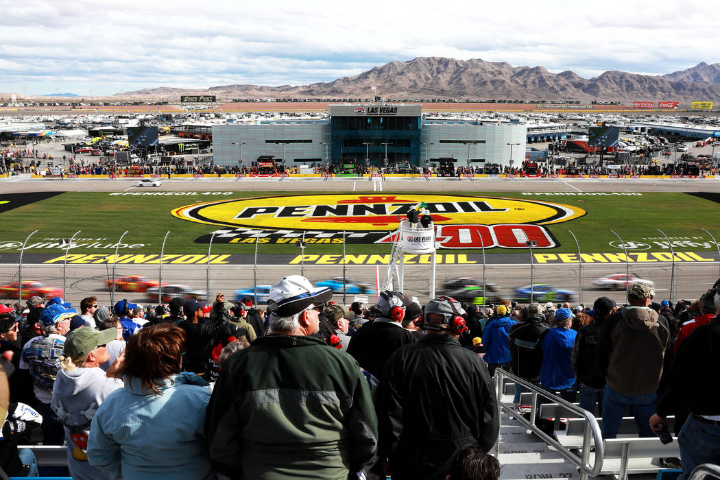 Fans watch the NASCAR  Xfinity Series Boyd Gaming 300 auto race at the Las Vegas Motor Speedway in Las Vegas on Saturday, March 3, 2018. Andrea Cornejo Las Vegas Review-Journal @DreaCornejo