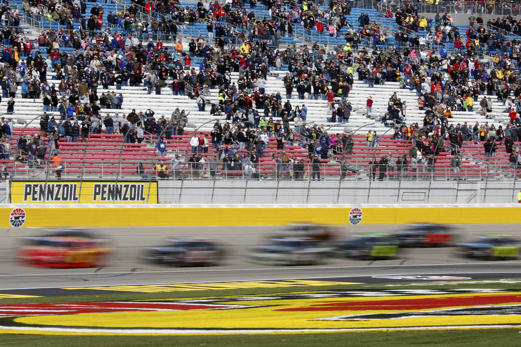 Drivers compete in the NASCAR  Xfinity Series Boyd Gaming 300 auto race at the Las Vegas Motor Speedway in Las Vegas on Saturday, March 3, 2018. Andrea Cornejo Las Vegas Review-Journal @DreaCornejo