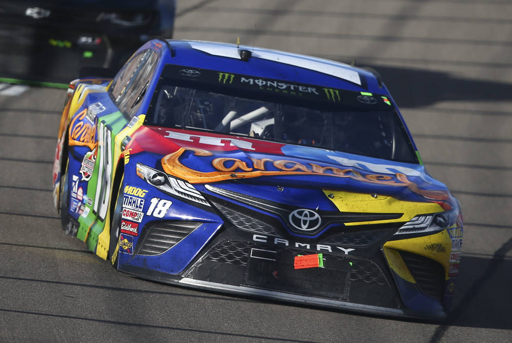 Kyle Busch (18) competes during the Monster Energy NASCAR Cup Series Pennzoil 400 auto race at the Las Vegas Motor Speedway in Las Vegas on Sunday, March 4, 2018. Chase Stevens Las Vegas Review-Jo ...