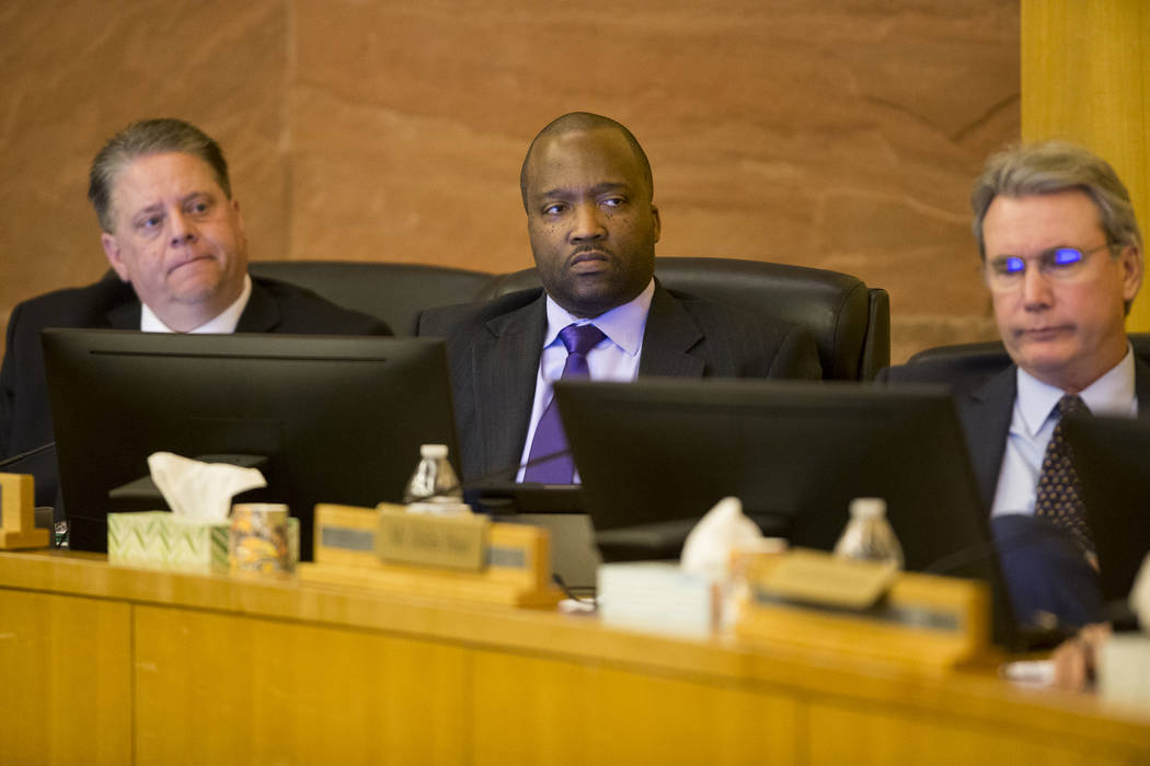 Board members from left, Mike Newcomb, Ken Evans, and Dallas Haun, during a Las Vegas Stadium Authority meeting at the Clark County Commission Chambers in Las Vegas, Thursday, March 1, 2018. Erik  ...