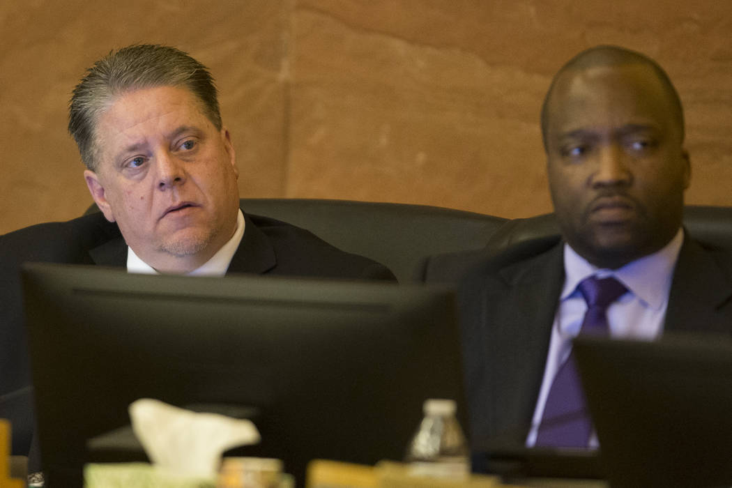 Board members Mike Newcomb, left, and Ken Evans, during a Las Vegas Stadium Authority meeting at the Clark County Commission Chambers in Las Vegas, Thursday, March 1, 2018. Erik Verduzco Las Vegas ...