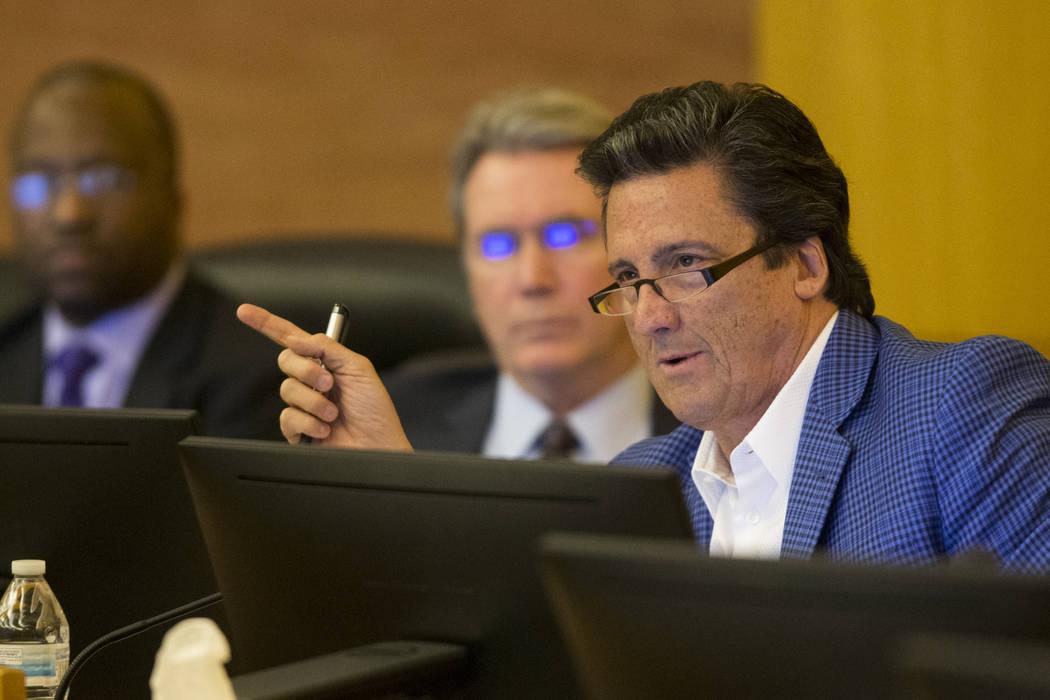 Board member Bill Hornbuckle during a Las Vegas Stadium Authority meeting at the Clark County Commission Chambers in Las Vegas, Thursday, March 1, 2018. Erik Verduzco Las Vegas Review-Journal @Eri ...