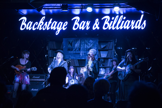 Dusty Sunshine performs at Backstage Bar & Billiards during the fourth and final night of the Neon Reverb music festival in downtown Las Vegas Sunday, March 13, 2016. The multi-venue festival  ...