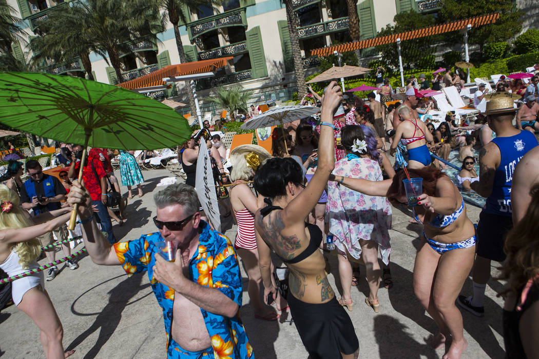 Attendees dance by the pool during the final day of the Viva Las Vegas Rockabilly Weekend at The Orleans hotel-casino in Las Vegas on Sunday, April 16, 2017. Chase Stevens Las Vegas Review-Journal ...