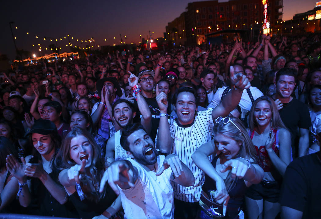 Attendees react as Mura Masa performs at the Ambassador stage during the final day of the Life is Beautiful festival in downtown Las Vegas on Sunday, Sept. 24, 2017. Chase Stevens Las Vegas Review ...