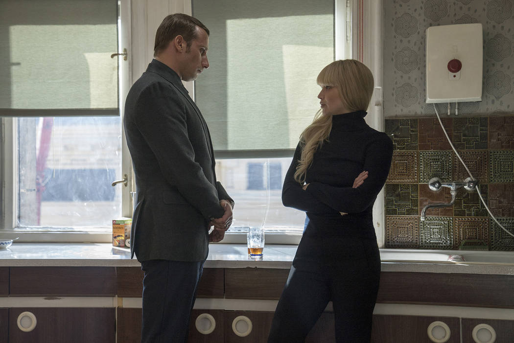 "Matthias Schoenaerts and Jennifer Lawrence in Twentieth Century Fox's ""Red Sparrow."" Murray Close."