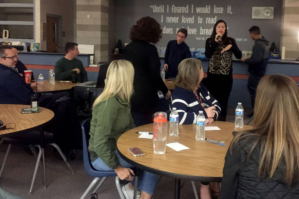"""Foothill High School principal Lisa Burkhead welcomes attendees on Wednesday, Feb. 21, 2018, to a meeting at the school in Henderson to create a set of """"core values"""" for all the schools in old ..."""