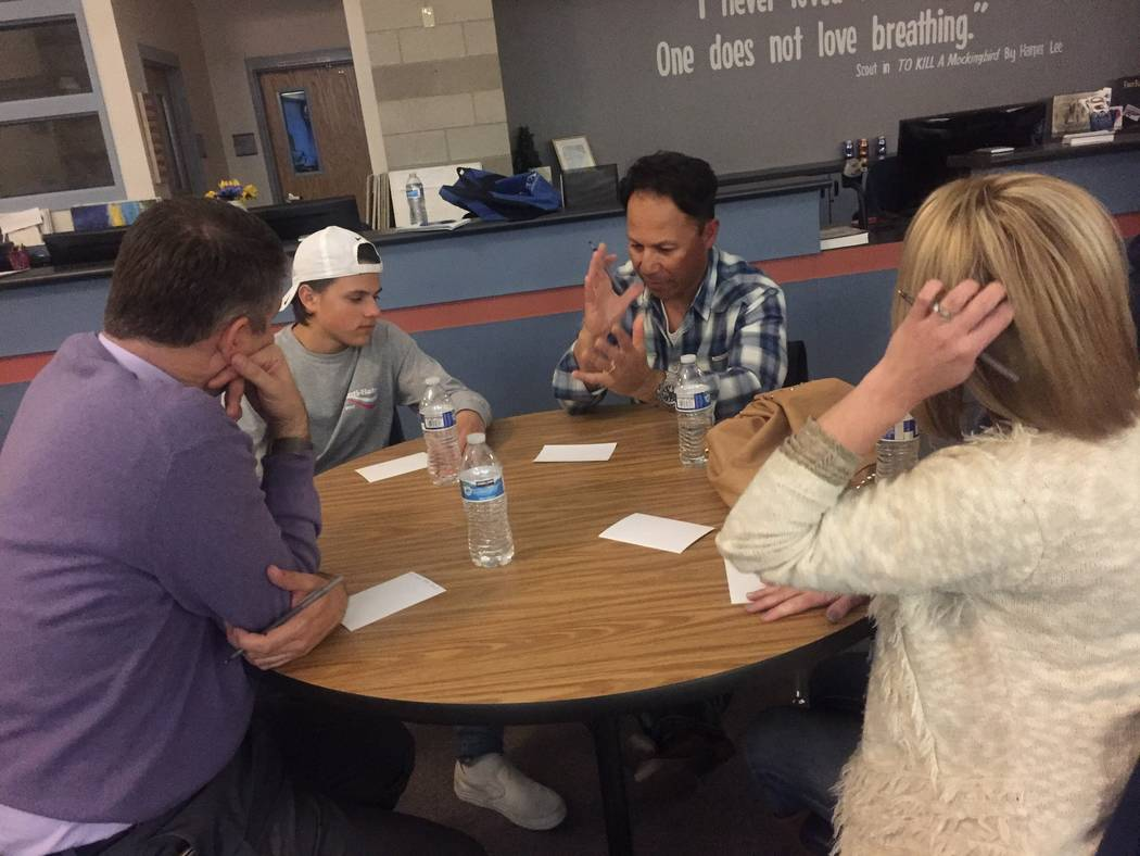 """Attendees at a meeting at Foothill High School in Henderson, Wednesday, Feb. 21, 2018, to discuss certain  """"core values"""" they think students should have. (Megan Delaney/Las Vegas Review-Journal)"""
