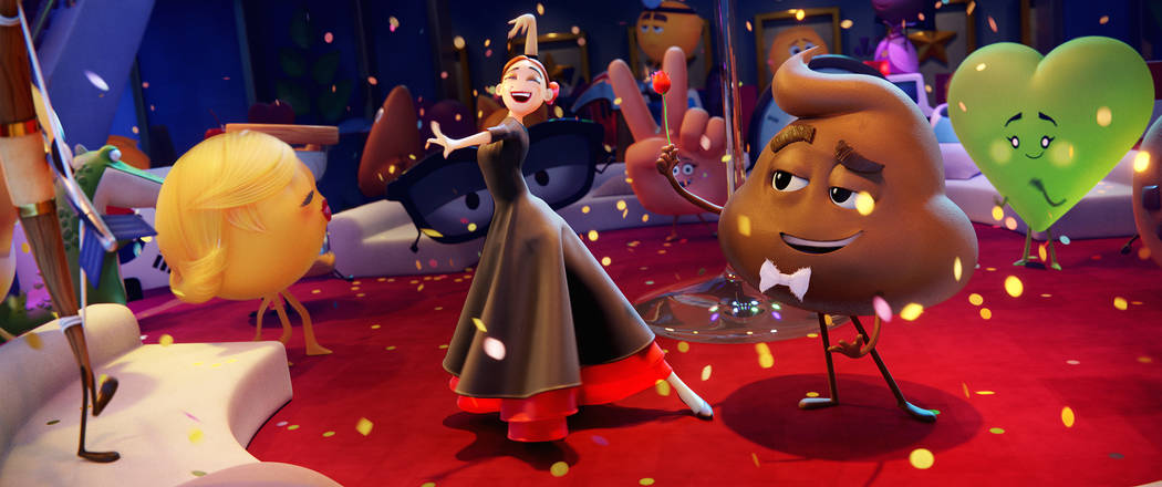 Flamenca (Sofia Vergara) And Poop (Sir Patrick Stewart) In Columbia Pictures And Sony Pictures Animation's The Emoji Movie.