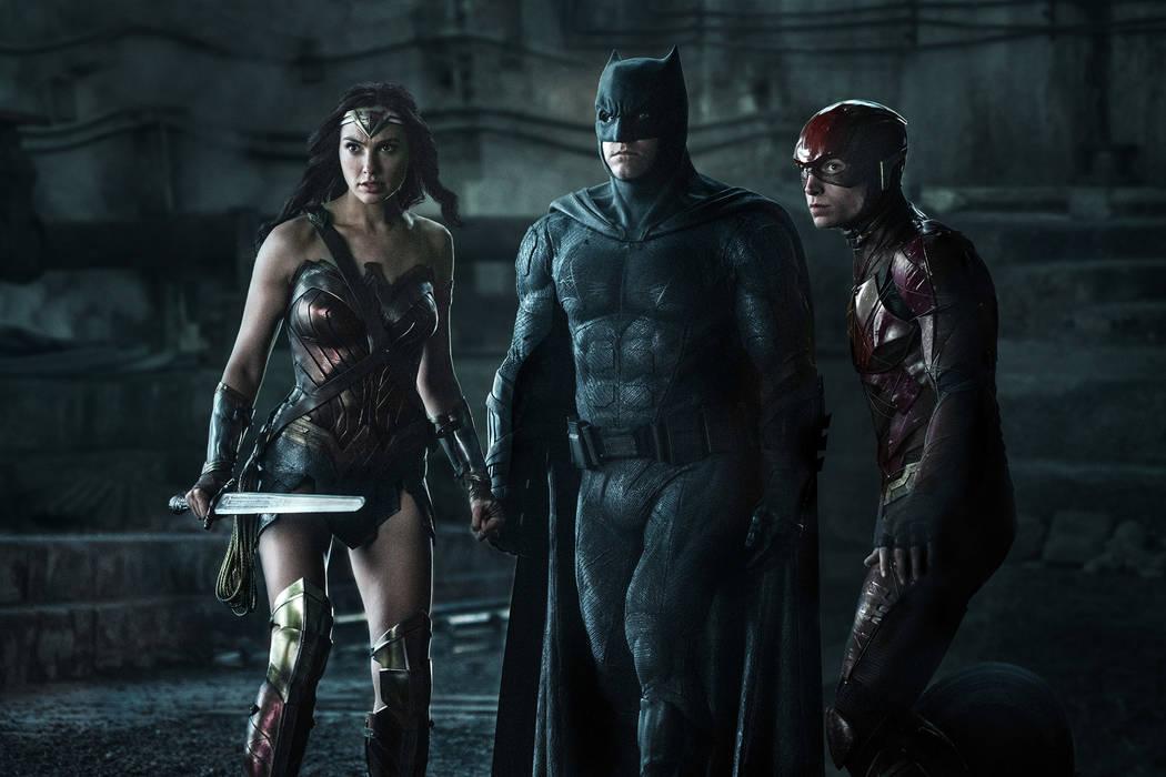 "Photo Credit: Clay Enos/ Tm & © DC Comics Caption: (L-r) Gal Gadot As Wonder Woman, Ben Affleck As Batman And Ezra Miller As The Flash In Warner Bros. Pictures' Action Adventure ""Justice League,"" ..."