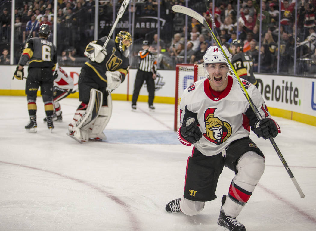 Ottawa Senators right wing Alexandre Burrows (14) celebrates his goal against Vegas Golden Knights goaltender Marc-Andre Fleury late in the third period of an NHL hockey game Friday, March 2, 2018 ...