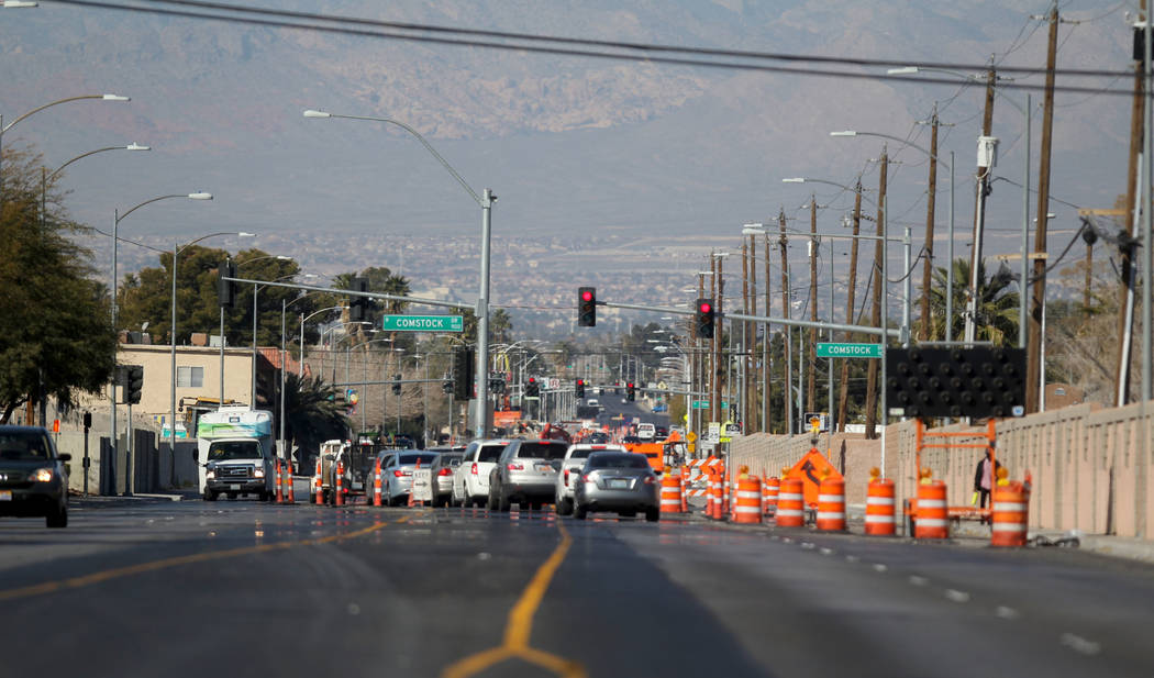 Traffic is diverted as construction continues on a one-mile section of Washington Avenue between Rancho Drive and Martin Luther King Boulevard Wednesday, Feb. 28, 2018. Crews will continue work un ...