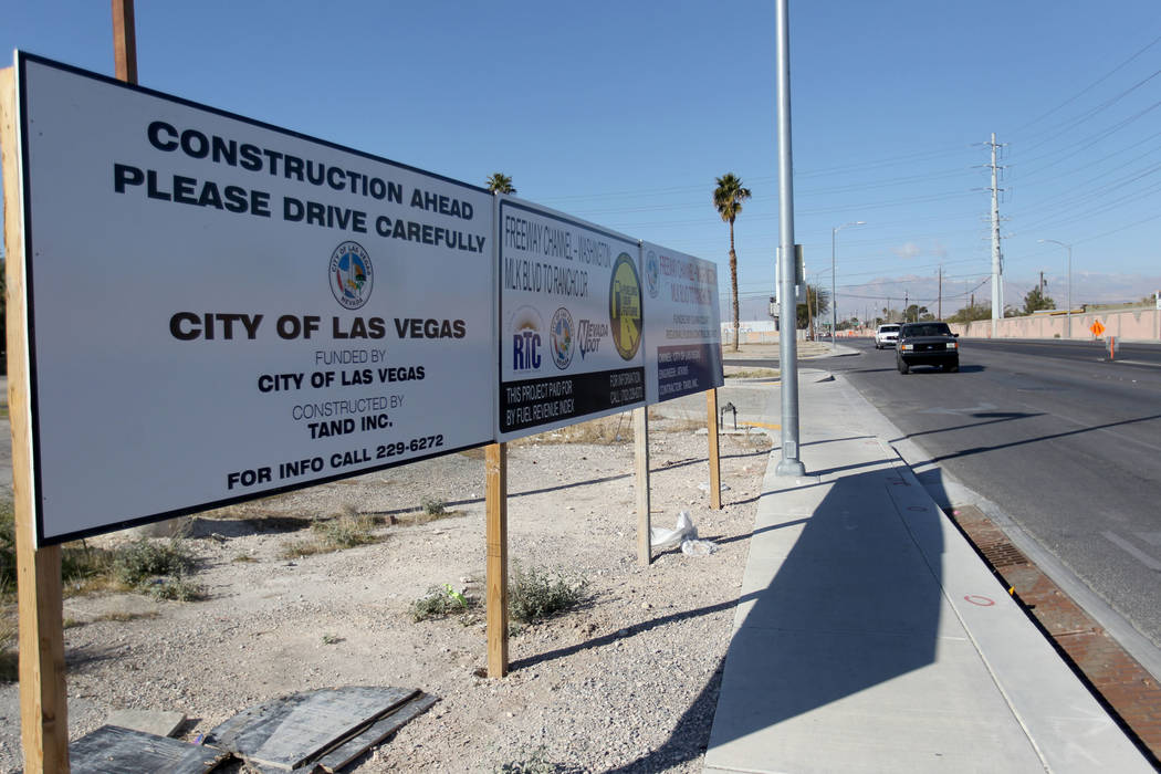 Construction continues on a one-mile section of Washington Avenue between Rancho Drive and Martin Luther King Boulevard Wednesday, Feb. 28, 2018. Crews will continue work until summer on installin ...
