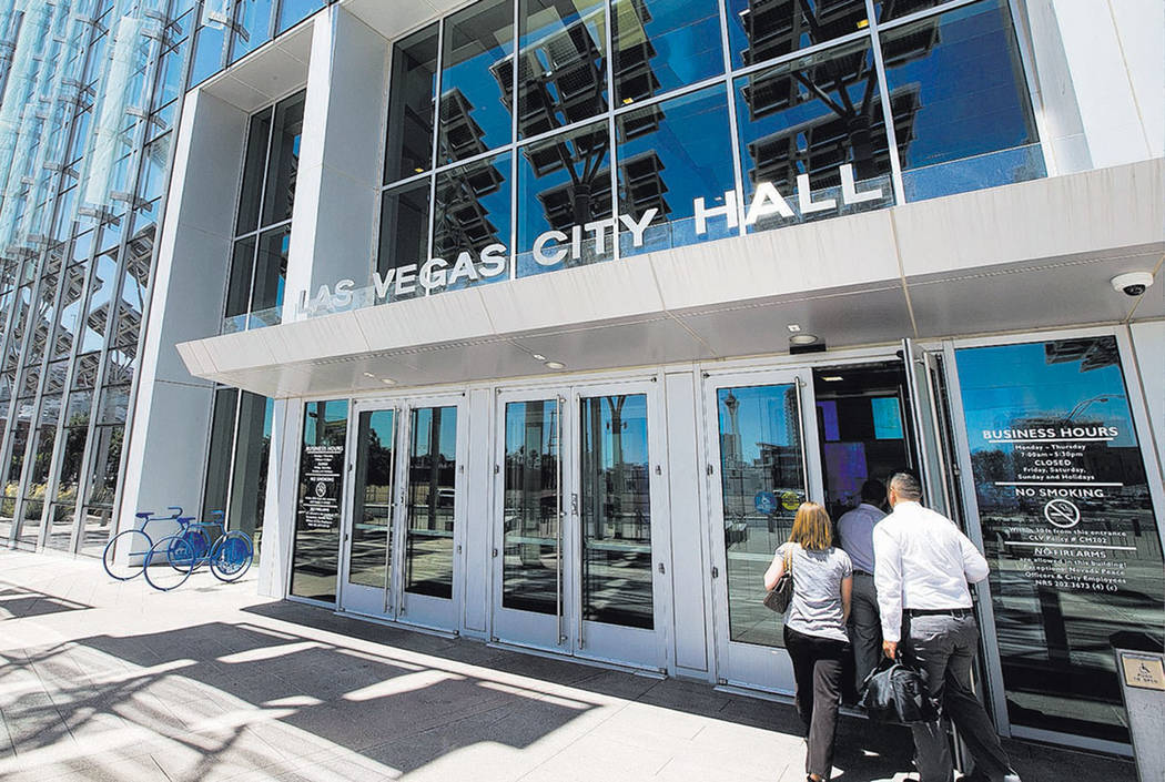 Las Vegas City Hall located at 495 S. Main St. in downtown Las Vegas on Tuesday, May 23, 2017. Richard Brian Las Vegas Review-Journal @vegasphotograph