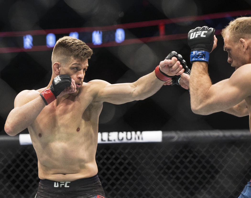 Mike Pyle, left, connects with a jab against Zak Ottow during their welterweight matchup at UFC 222 at T-Mobile Arena on Saturday, March 3, 2018, in Las Vegas. Ottow beat Pyle via first round stop ...