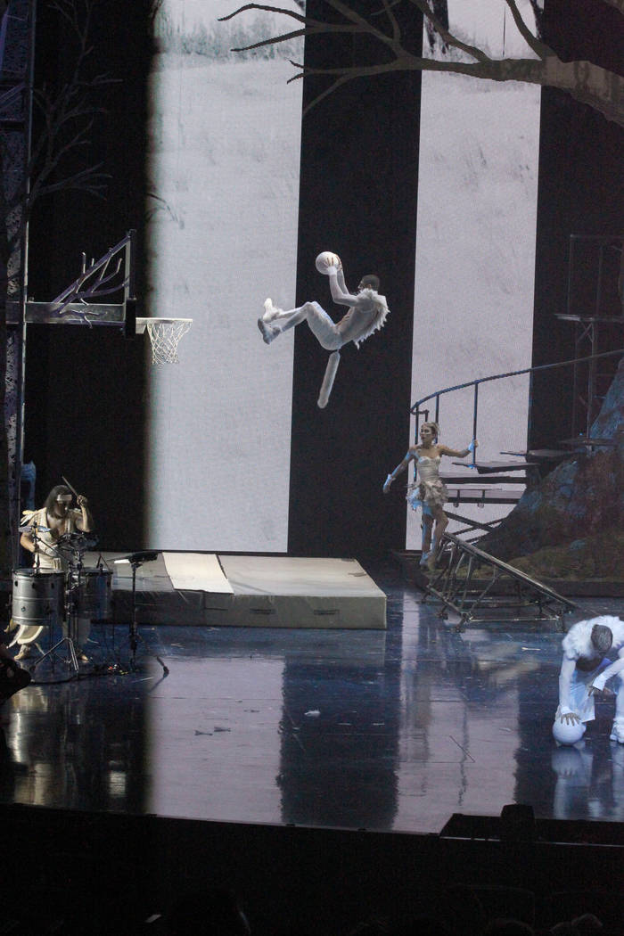 "Performers during rehearsal Thursday, March 1, 2018, for Cirque du Soleil's ""One Night for One Drop"" show in Michael Jackson ONE Theatre at Mandalay Bay. The annual benefit show raises money for O ..."