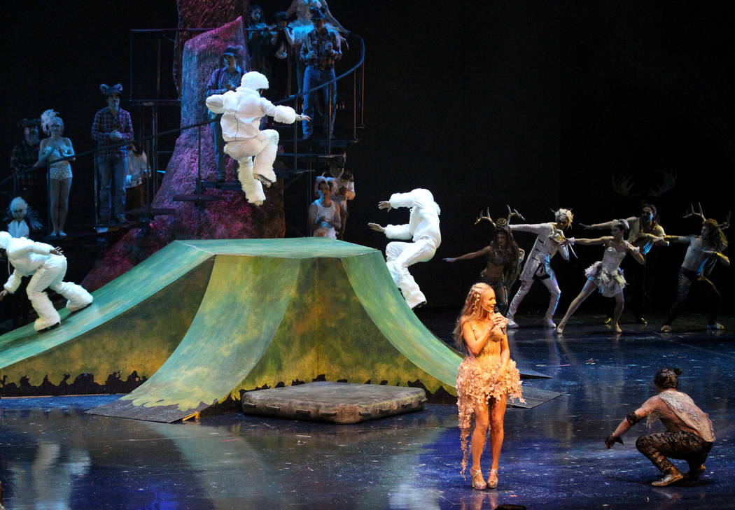 "Singer-songwriter Jewel, right, with Cirque performers during rehearsal Thursday, March 1, 2018, for Cirque du Soleil's ""One Night for One Drop"" show in Michael Jackson ONE Theatre at Mandalay Bay ..."
