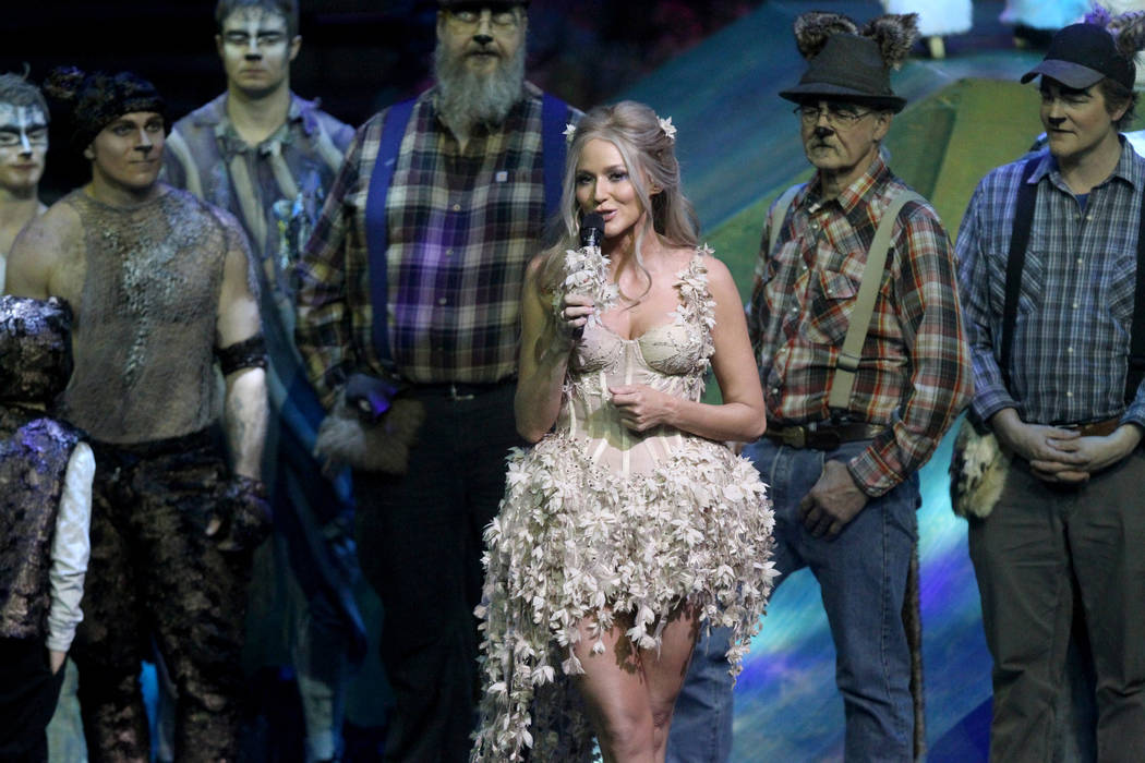 "Singer-songwriter Jewel thanks everyone after rehearsal Thursday, March 1, 2018, for Cirque du Soleil's ""One Night for One Drop"" show in Michael Jackson ONE Theatre at Mandalay Bay. This year's sh ..."