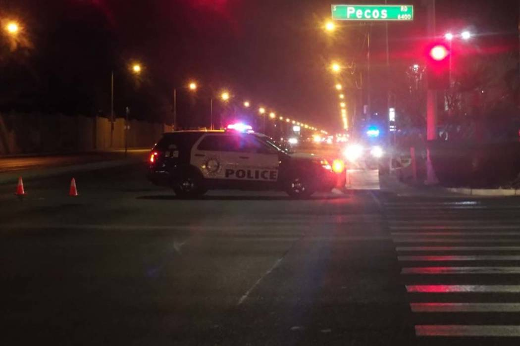 Las Vegas police are investigating a Thursday morning crash between a motorized scooter and another vehicle on Sunset Road near Pecos Road.  (Max Michor/Las Vegas Review-Journal)