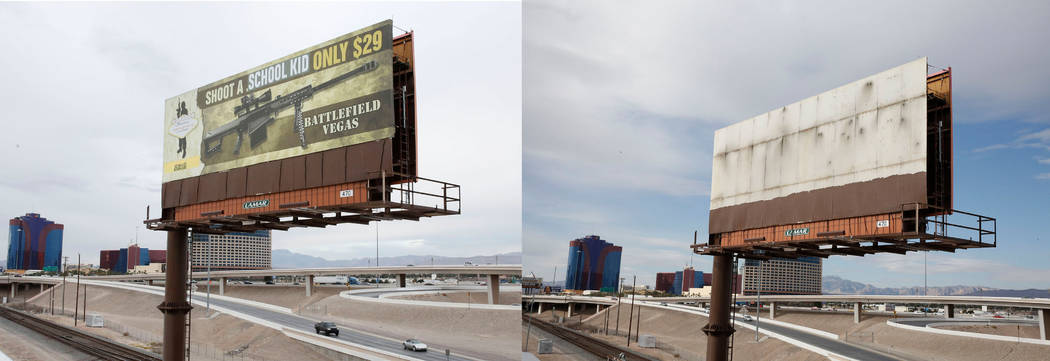 The vandalized billboard, left, and after the billboard had been taken down near Interstate 15 and Spring Mountain Road in Las Vegas, Thursday, March 1, 2018. The billboard was an advertisement fo ...