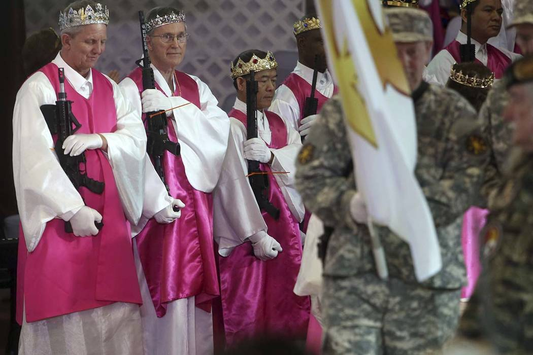 Rifles And Bullets In Crowns At Unification Church Ceremony Supporting Second Amendment
