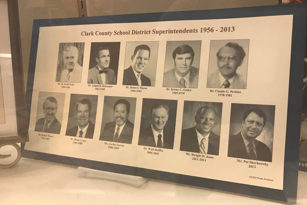 A list of the Clark County School District's precious superintendents is on display at the district headquarters off of Sahara Avenue. (Amelia Pak-Harvey/Las Vegas Review-Journal)