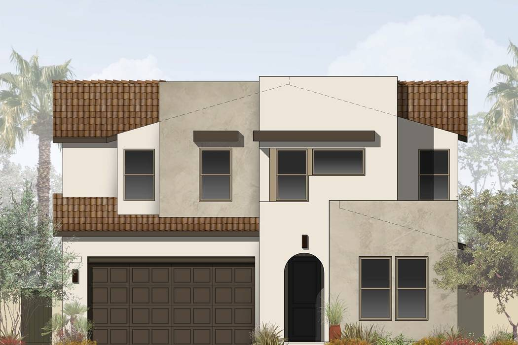 Pardee Homes will open Indigo in North Las Vegas in late April. Shown is a rendering of Indigo Plan Three-AR in the Desert Contemporary elevation. (Pardee Homes)