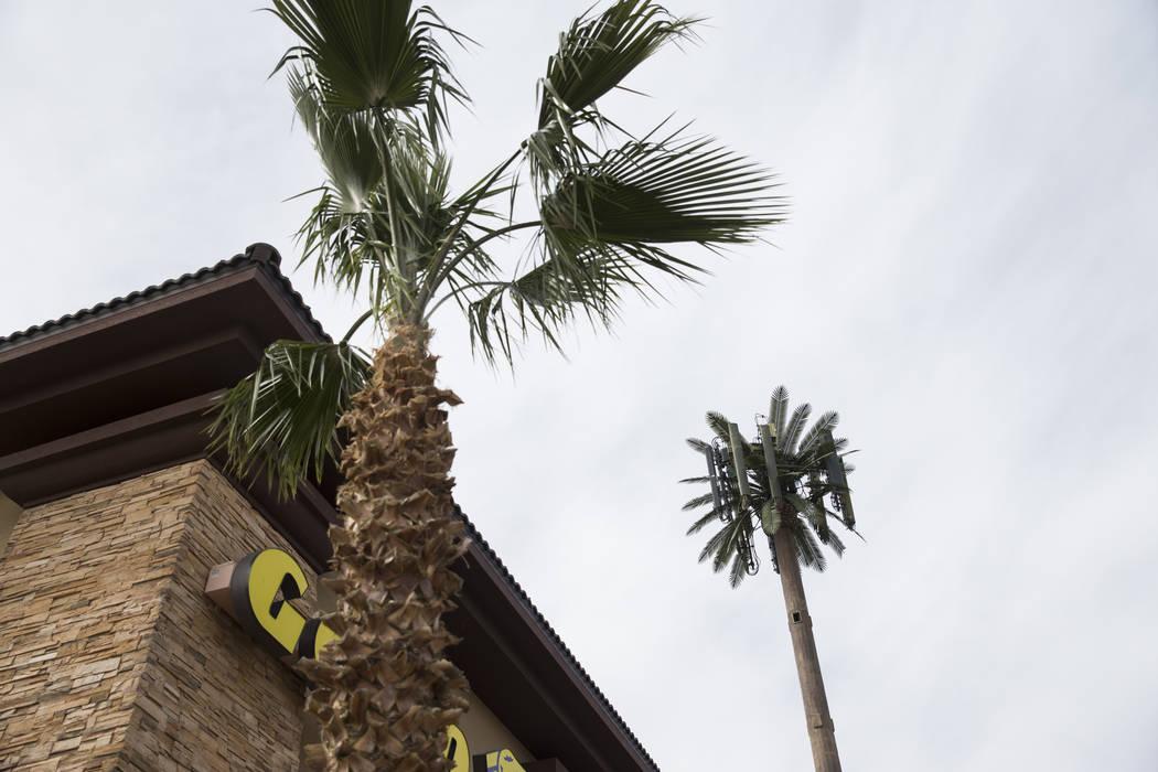An AT&T cell tower near the intersection of Losee Road and E. Ann Road in Las Vegas, Thursday, Feb. 22, 2018. Erik Verduzco Las Vegas Review-Journal @Erik_Verduzco
