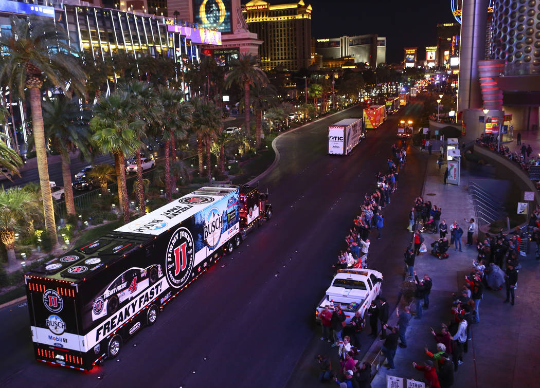 The hauler of Kevin Harvick (4) parades down the Las Vegas Strip near Harmon Road ahead of the NASCAR Monster Energy Cup in Las Vegas on Thursday, March 1, 2018. Chase Stevens Las Vegas Review-Jou ...