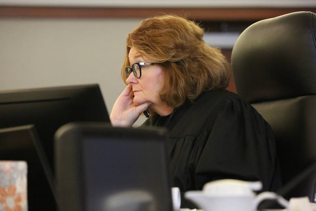 Judge Gloria Sturman considers a request to assign Larry Bertsch as special administrator of the estate of Stephen Paddock during a hearing on Thursday, March 1, 2018 at the Regional Justice Cente ...
