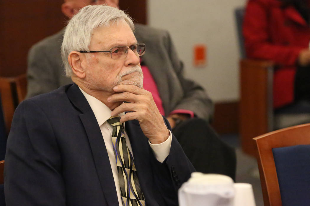 Larry Bertsch listens as Judge Gloria Sturman outlines his obligations and limitations as special administrator of the estate of Stephen Paddock on Thursday, March 1, 2018 at the Regional Justice  ...
