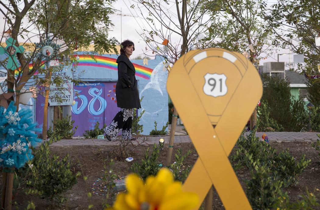 Las Vegas resident Laurel Frahm-Hastings visits the Community Healing Garden in downtown Las Vegas, Thursday, Nov. 30, 2017. (Richard Brian/Las Vegas Review-Journal) @vegasphotograph