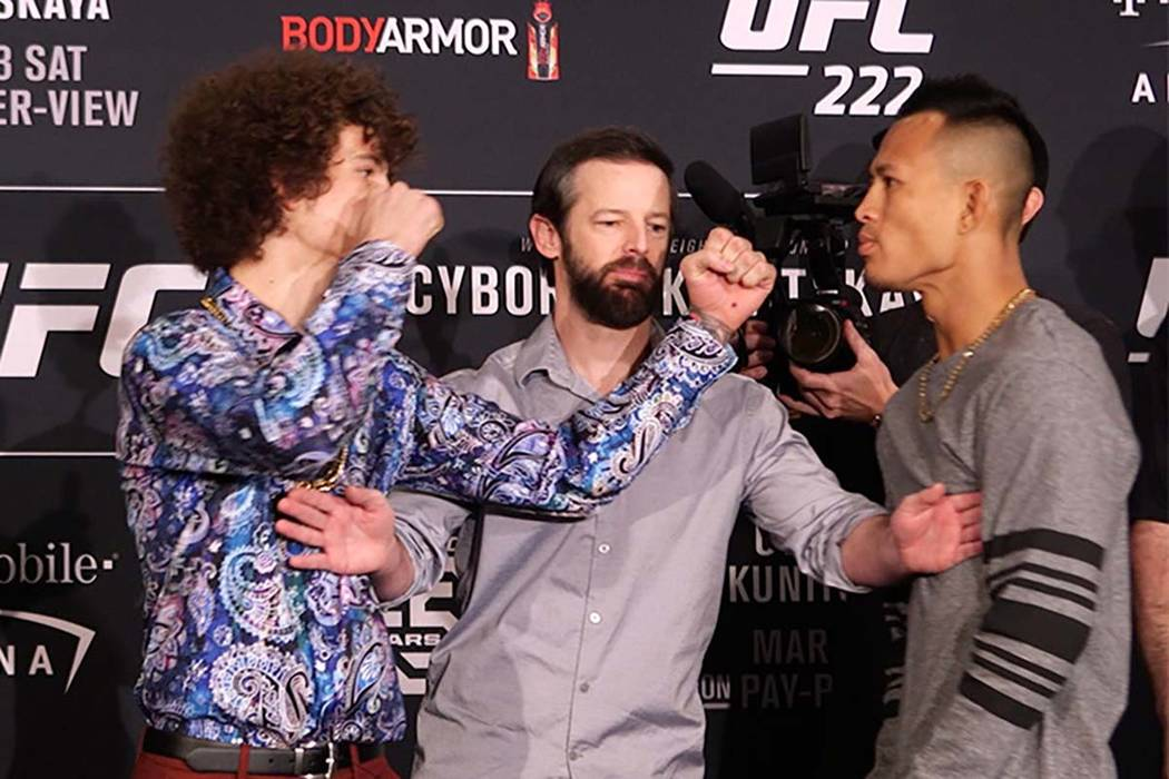 UFC 222 media day staredown had a couple of intense moments, Thursday, March 1, 2018. UFC bantamweights Sean O'Malley and Andre Soukhamthath had a heated confrontation. (Heidi Fang/Las Vegas Revie ...