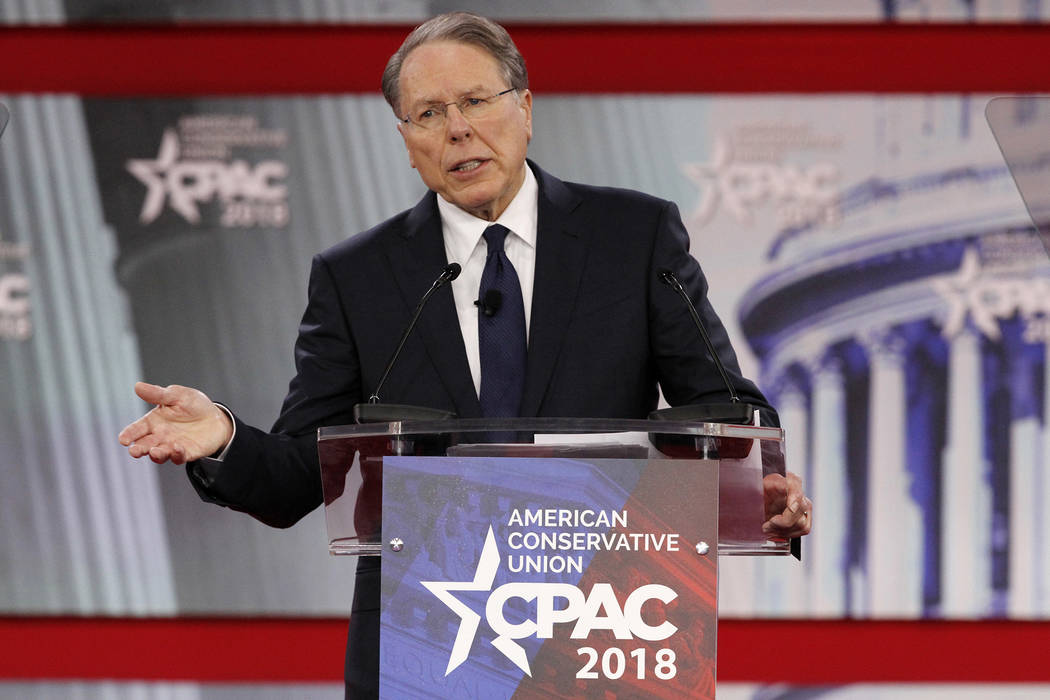 FILE- In this Thursday, Feb. 22, 2018, file photo, National Rifle Association Executive Vice President and CEO Wayne LaPierre, speaks at the Conservative Political Action Conference (CPAC), at Nat ...