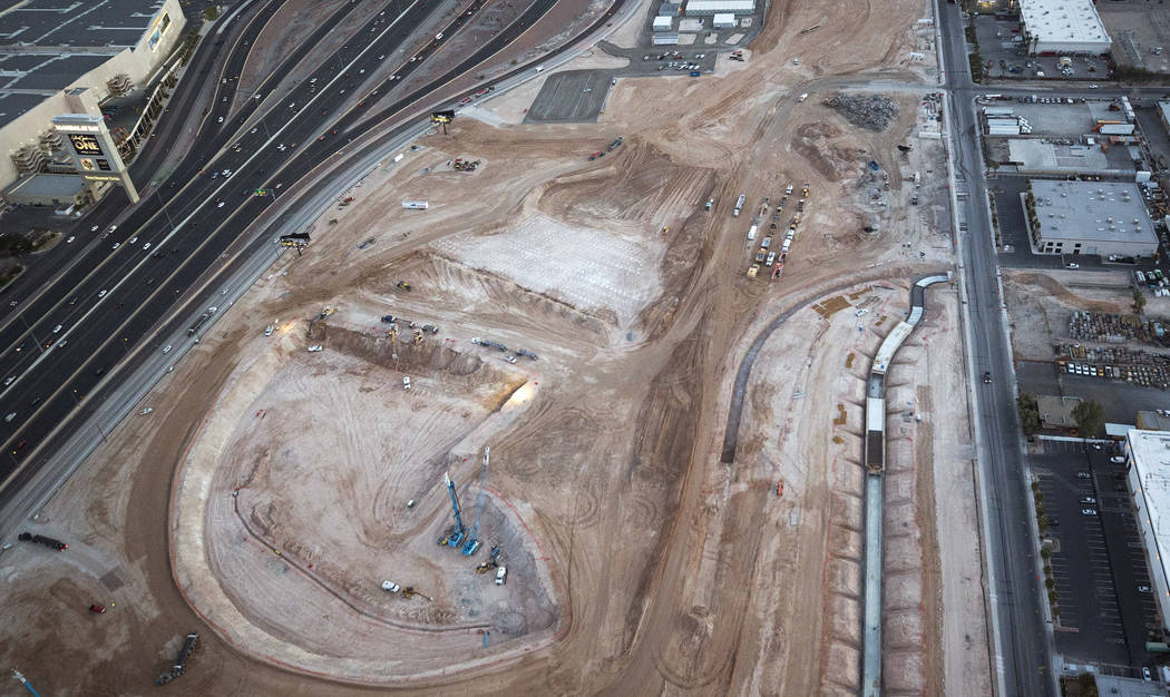 Construction continues at the site of the NFL's Raiders football stadium on Monday, Feb. 12, 2018. Richard Brian Las Vegas Review-Journal @vegasphotograph