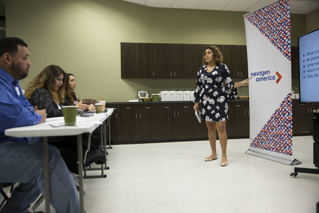 Mayra Macias, political director of the Latino Victory Fund, during the American Dream Project, an immigrant candidate training seminar, at the Asian Community Development Council headquarters in  ...