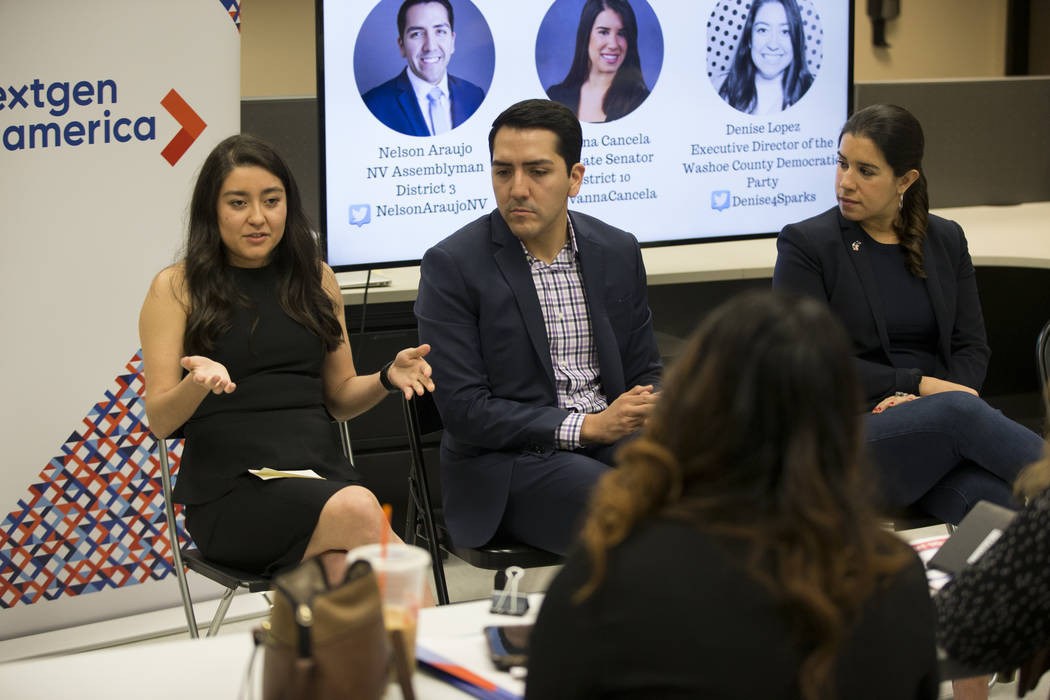 Denise Lopez, from left, executive director of the Washoe County Democratic Party, with Assemblyman Nelson Araujo, D-Las Vegas, and state Senator Yvanna Cancela, D-Las., during the American Dream  ...
