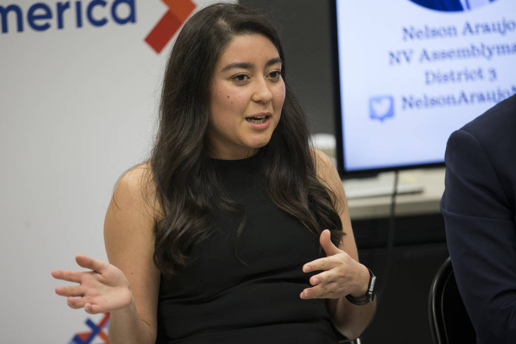 Denise Lopez, executive director of the Washoe County Democratic Party, during the American Dream Project, an immigrant candidate training seminar, at the Asian Community Development Council headq ...