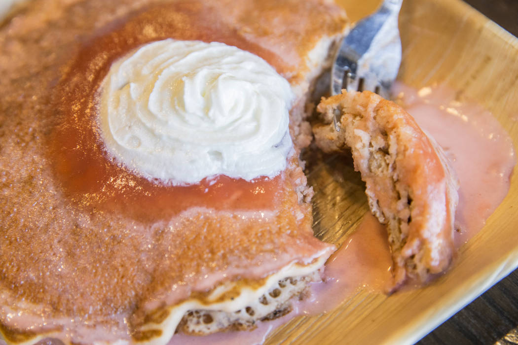 Guava chiffon pancakes at Cinnamon's, a Hawaiian breakfast restaurant that officially opened in Summerlin on December 8, 2106. Photo taken on Tuesday, March 14, 2017, in Las Vegas. (Benjamin Hager ...