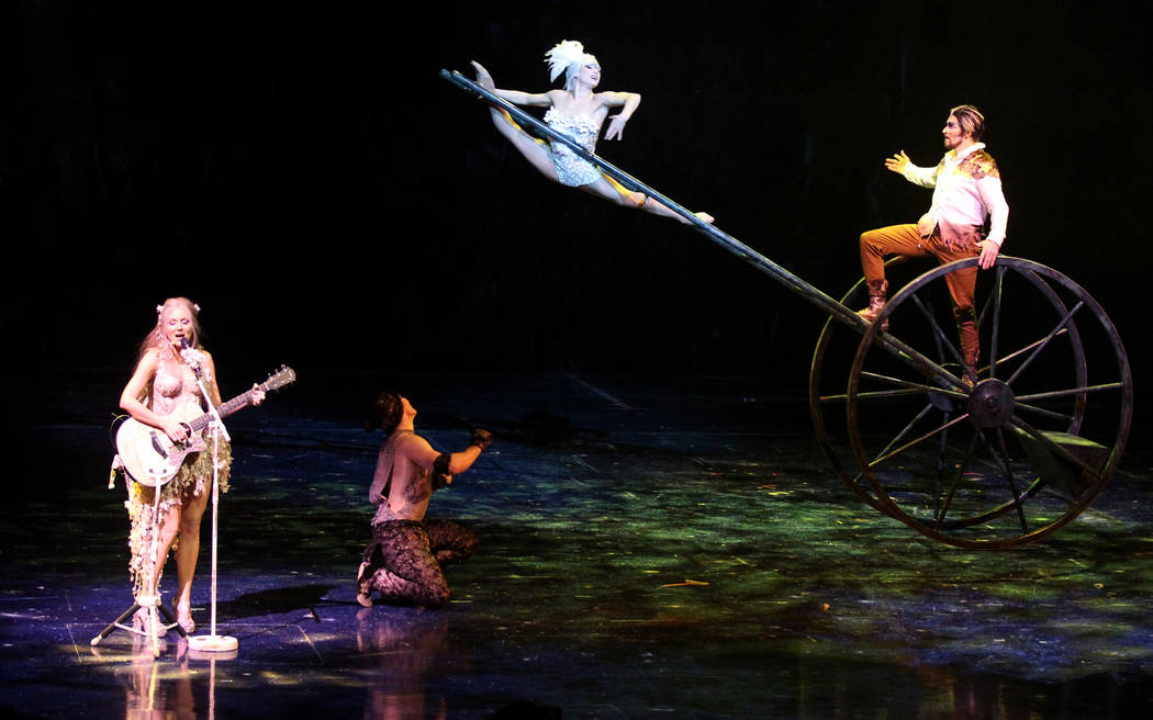 """Singer-songwriter Jewel, left, with Cirque performers during rehearsal Thursday, March 1, 2018, for Cirque du Soleil's """"One Night for One Drop"""" show in Michael Jackson ONE Theatre at Man ..."""