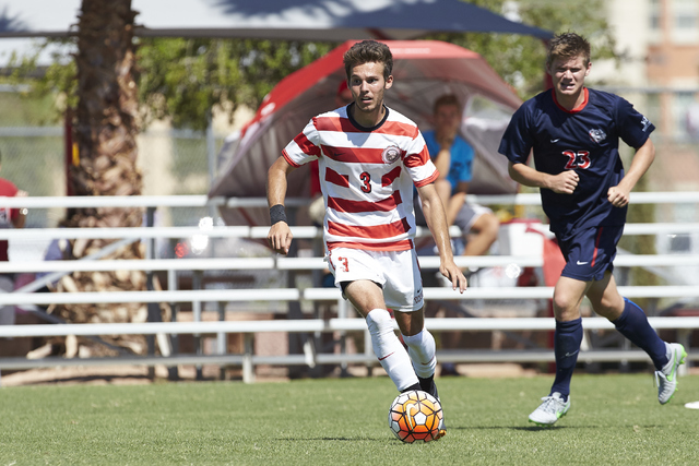 UNLV Men's Soccer team defeats Gonzaga 1-0 September 27, 2015 at the University of Nevada, Las Vegas. Standout Danny Musovski (No. 3) handles the ball. ((Aaron Mayes / UNLV Photo Services)