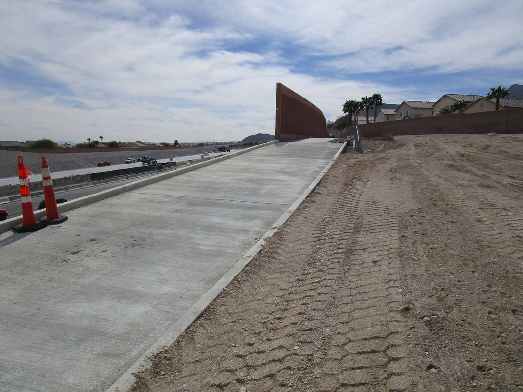 New concrete poured in late February completes the surface of the Western Beltway Trail between Alexander Road and Lone Mountain Road in northwest Las Vegas on Thursday, March 8, 2018. The trail i ...