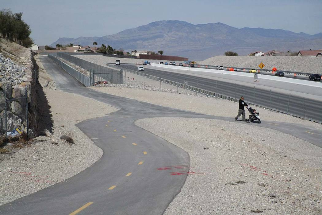 Access to the Western Beltway Trail is open just north of West Alexander Road in northwest Las Vegas on Thursday, March 8, 2018. The trail is now open between Alexander and Centennial Parkway. (Gr ...