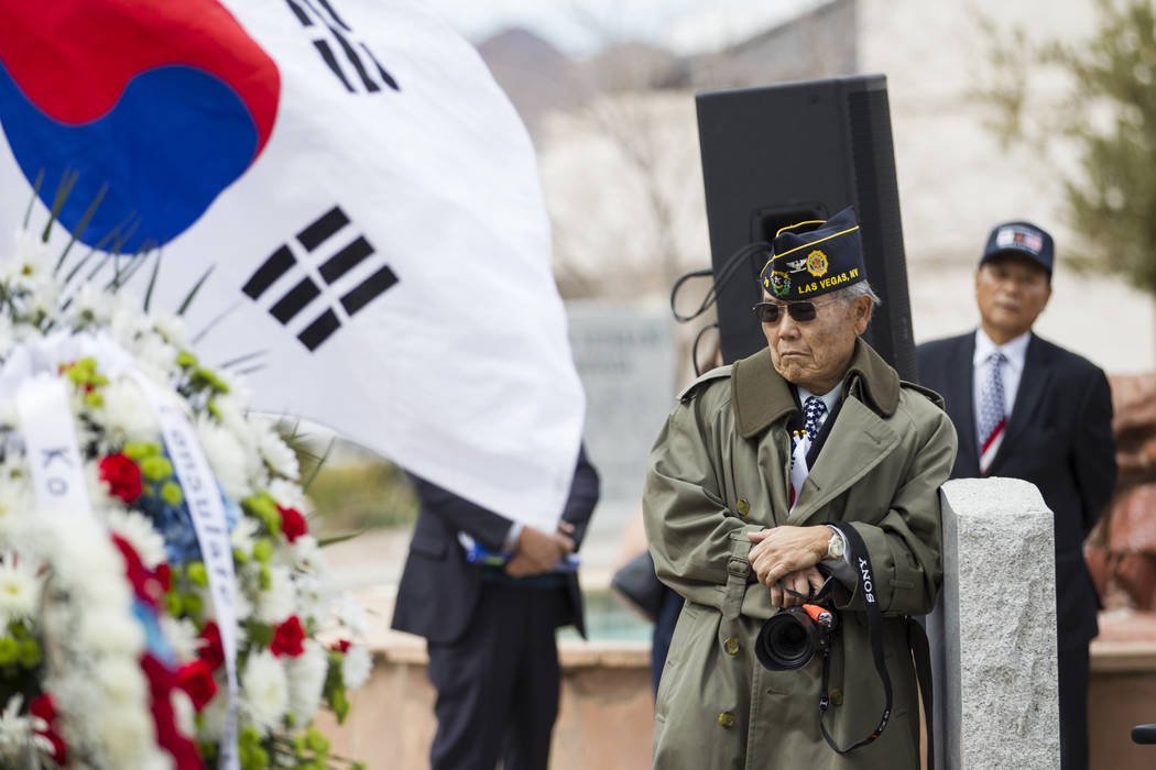 Army veteran Andrew Kim during the unveiling ceremony for a Korean War memorial monument at the Southern Nevada Veterans Memorial Cemetery in Boulder City, Saturday, March 3, 2018. Erik Verduzco L ...