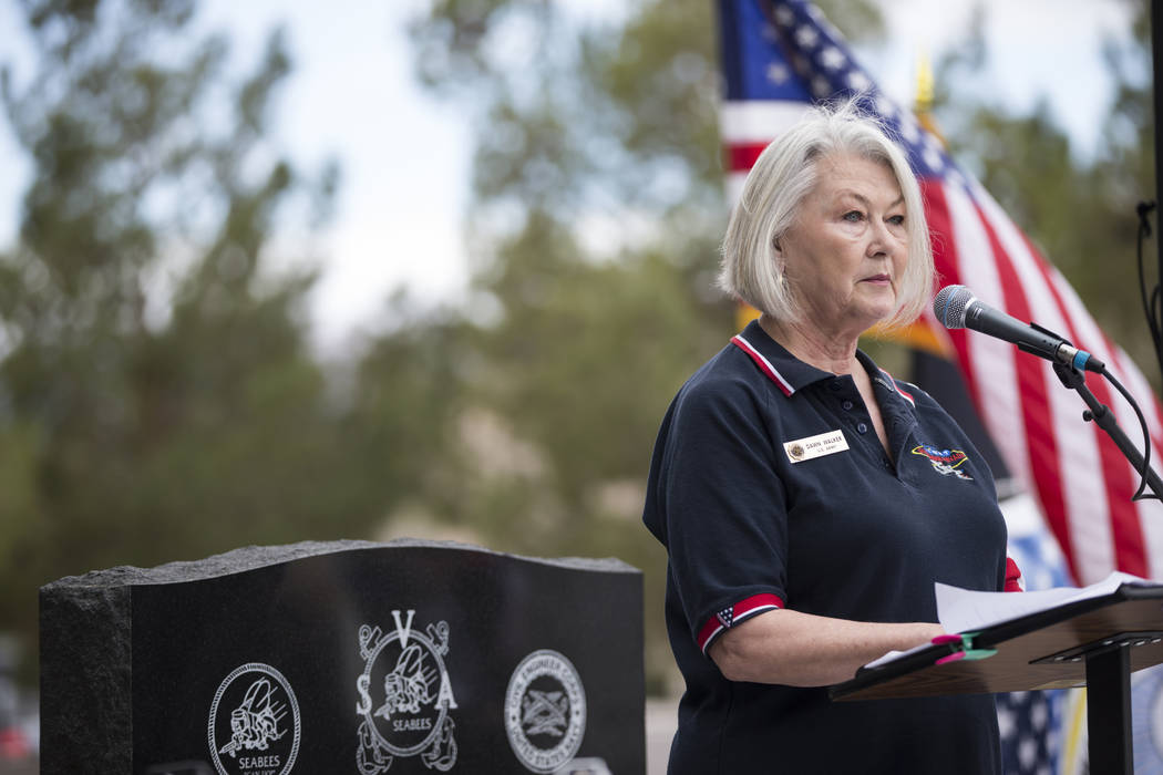 Dawn Walker with the Honor Flight Southern Nevada, during the unveiling ceremony for a Korean War memorial monument at the Southern Nevada Veterans Memorial Cemetery in Boulder City, Saturday, Mar ...