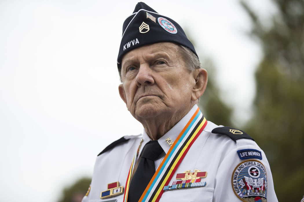 Korean War veteran Henry Sawicki during an unveiling ceremony for a Korean War memorial monument at the Southern Nevada Veterans Memorial Cemetery in Boulder City, Saturday, March 3, 2018. Erik Ve ...