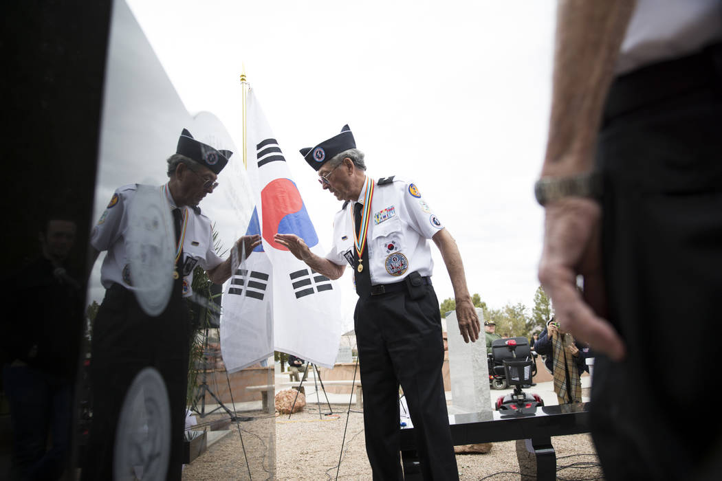 Korean War veteran Lee Mowery during the unveiling ceremony for a Korean War memorial monument at the Southern Nevada Veterans Memorial Cemetery in Boulder City, Saturday, March 3, 2018. Erik Verd ...